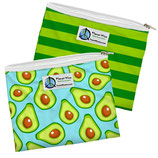 Zipper Sandwich Bag 2 er Pack:  Avocado / grün gestreift (von Planet Wise)