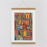 """""""New York"""" Kunstdruck, Blockprint, Poster Set mit magnetischen Holzleisten (Rahmen) und Schnur zum Aufhängen"""