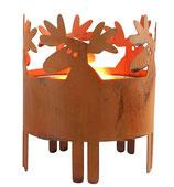 """Kerzenhalter """"Elch"""" aus rostfarbenem Metall für Innen und Außen  (von Pluto)"""