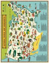 """National Parks Map - Nationalparkkarte "" Cavallini Vintage Puzzle"