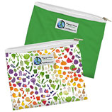 Zipper Sandwich Bag 2 er Pack:  Farmers Market - Früchte und Gemüse / einfarbig Grün (von Planet Wise)
