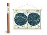 """Vintage Poster Set mit Holzleisten (Rahmen) und Schnur zum Aufhängen, Motiv """"Sternenkarte, Celestical chart"""" (von Cavallini)"""