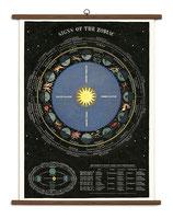 """Vintage Poster Set extra groß mit Holzleisten (Rahmen) und Schnur zum Aufhängen, Motiv """"Sternzeichen, Tierkreiszeichen, Zodiac"""""""