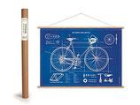 """Vintage Poster Set mit Holzleisten (Rahmen) und Schnur zum Aufhängen, Motiv """"""""Fahrrad"""" Blueprint (von Cavallini)"""