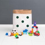 "Paperbag, Papiersack M ""Punkte dunkelgrün"""