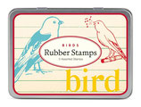 "Cavallini Stempel Set ""Birds"", Vögel, 3 Stempel in schöner Metalldose mit 3 Motiven"