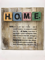 """Holzbild mit Scrabblebuchstaben und Text Motiv """"HOME"""""""