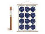 """Vintage Poster Set mit Holzleisten (Rahmen) und Schnur zum Aufhängen, Motiv """"Sternenkarte, Sternbilder, Constellations - vertikal"""" (von Cavallini)"""