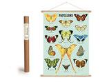 """Vintage Poster Set mit Holzleisten (Rahmen) und Schnur zum Aufhängen, Motiv """"Schmetterlinge 2"""" (von Cavallini)"""