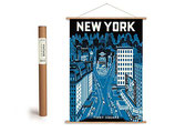 """Vintage Poster Set mit Holzleisten (Rahmen) und Schnur zum Aufhängen, Motiv """"New York Times Square """" (von Cavallini)"""