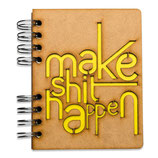 """Notizbuch, Notebook """"make shit happen """" mit Holzeinband, A6 liniert (von KOMONI)"""