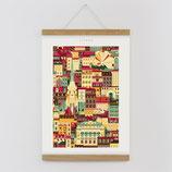 """""""Wien"""" Kunstdruck, Blockprint, Poster Set mit magnetischen Holzleisten (Rahmen) und Schnur zum Aufhängen"""