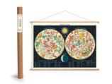 """Vintage Poster Set mit Holzleisten (Rahmen) und Schnur zum Aufhängen, Motiv """"Constellations"""", Tierkreiszeichen (von Cavallini)"""