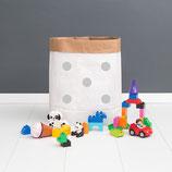 "Paperbag, Papiersack M ""Punkte grau"""