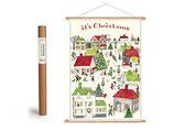 """Vintage Poster Set mit Holzleisten (Rahmen) und Schnur zum Aufhängen, Motiv """"Weihnachten, Christmas""""  (von Cavallini)"""