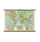 """Vintage Poster Set extra groß mit Holzleisten (Rahmen) und Schnur zum Aufhängen, Motiv Bacons Weltkarte, """"The World"""""""