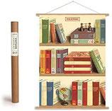 """Vintage Poster Set mit Holzleisten (Rahmen) und Schnur zum Aufhängen, Motiv """"Bücher"""" (von Cavallini)"""