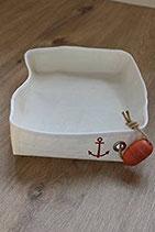 Brotkorb - Schale eckig aus gebrauchtem Segeltuch mit Anker in rot