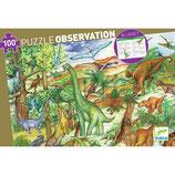 """Wimmelpuzzle  """"Dinosaurier"""" 100 Teile + booklet  von DJECO"""