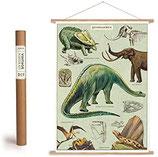 """Vintage Poster Set mit Holzleisten (Rahmen) und Schnur zum Aufhängen, Motiv """"Dinosaurier"""" (von Cavallini)"""