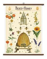 """Vintage Poster Set extra groß mit Holzleisten (Rahmen) und Schnur zum Aufhängen,  Motiv """"Bees & Honey - Bienen & Honig"""""""
