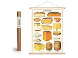"""Vintage Poster Set mit Holzleisten (Rahmen) und Schnur zum Aufhängen, Motiv """"Fromage, Käse """" (von Cavallini)"""