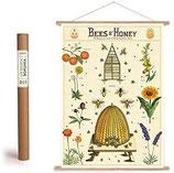 """Vintage Poster Set mit Holzleisten (Rahmen) und Schnur zum Aufhängen, Motiv """"Bienen & Blüten, Honig"""" (von Cavallini)"""