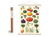 """Vintage Poster Set mit Holzleisten (Rahmen) und Schnur zum Aufhängen, Motiv """" Garten, Gemüse"""" (von Cavallini)"""