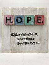 """Holzbild mit Scrabblebuchstaben und Text Motiv """"HOPE"""""""