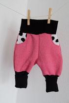 Mitwachshose Pink/schwarz/Dalmatiner  Gr. 1 (50-62) - Einzelstück