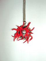 Monster Totenkopf Halskette roter Teufel