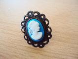 Gothic Lolita Cameo Ring Größenverstellbar blau