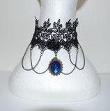 Halsband Spitze mit blauem Stein