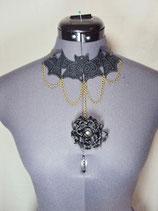 Schwarzes Halsband Spitze Fledermaus Blume Gothic