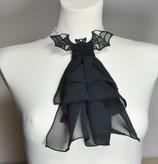 Jabot schwarz Chiffon Fledermaus Kragen Tuch