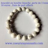 bracelet en howlite blanche , perle de 11mm
