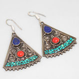boucles d'oreilles Népal, plaqué argent 925 et turquoise , 2