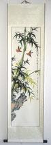 """Rollbild Wanddeko Tuschmalerei """"Bambus"""" HANDGEMALT! 150 x 40cm"""