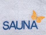 "Duschtuch bestickt mit ""SAUNA"""