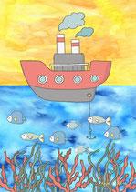 Schiff, Korallen und Fische