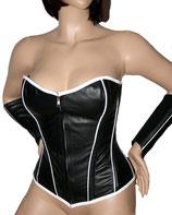 Sexy Leder Korsett schwarz / weiß
