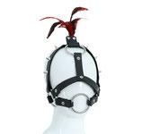 BDSM Knebelgeschirr Maske Harness Kopfgeschirr mit Schmuckfedern und O-Ring Mundknebel