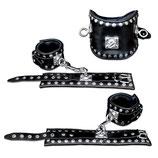 Extrem robustes Leder Bondage Fesselset mit Nieten MASTER schwarz / Halsband Handfesseln Fußfesseln