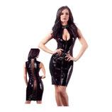 Lack-Kleid mit Reißverschlüssen in Schwarz
