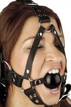 Strict Leather Gesichtsharness mit Mundball aus Leder