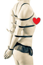 VEGAN LINE Körperfessel Harnisch Damen Riemen Body Harness Leder schwarz / bdsm Bondage SM Fetisch