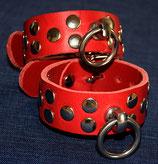 TERGINUM Nietenfesseln Fesseln Handfesseln, rot oder schwarz
