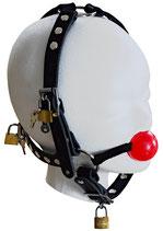 Ballgag Kopfgeschirr Silikon Mundknebel rot m. abnehmabren Kopfteil, abschließbar