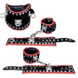 Extrem robustes Leder Bondage Fesselset mit Nieten MASTER schwarz-rot / Halsband Handfesseln Fußfesseln