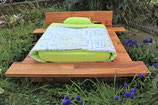 Katzenbett Eichenholz hellgrün/blau